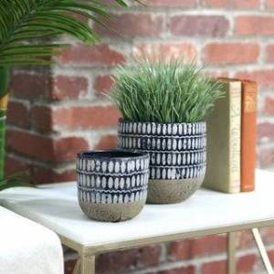 Urban Trends Collection UTC44003 Round Pot Set of Two Gloss Finish Navy Blue