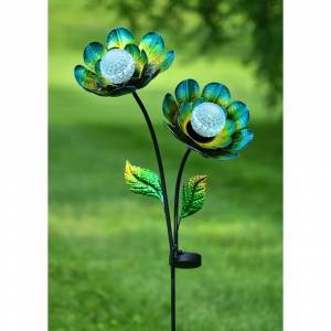 Overstock Double Flower Solar Garden Stake in Blue/Green/Yellow (Iron)