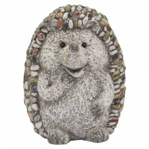 Three Hands Hedgehog Garden Decoration in Gray Resin 8in L x 7in W x 11in H