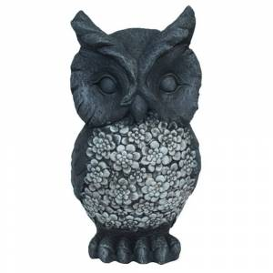 Three Hands Owl Garden Decoration in Gray Resin 9in L x 9in W x 17in H