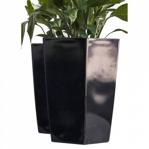 Overstock Xbrand Nested Plastic Self Watering Square Planter Pot, Set of 2, 22 Inch Tall, Black