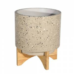 Overstock Mosaic Round Cement Planter on Wooden Stand, Large, Beige and Brown