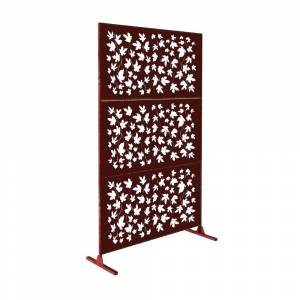 e-Joy Laser Cut 6ft x 4ft Free Standing Laser Cut Metal Screen Panel Privacy Stand (Metal - Stands - Assembly Required - Brown)