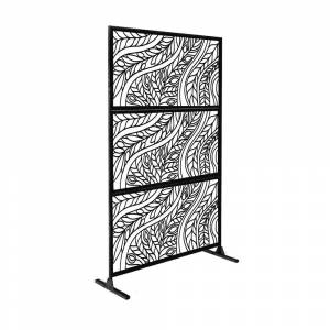 e-Joy Laser Cut 6ft x 4ft Free Standing Laser Cut Metal Screen Panel Privacy Stand (Metal - Stands - Assembly Required - Black)