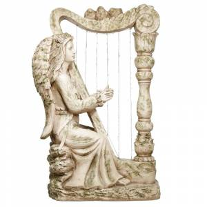 Alpine Corporation Solar Old World Angel Harpist Statue with LED Lights