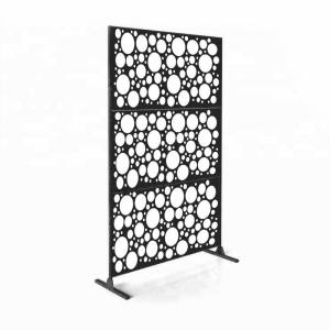 """Overstock Laser Cut Metal Privacy Stand Combo Fence, 75"""" x48 """" - CirclePoints (CirclePoints - Black)"""