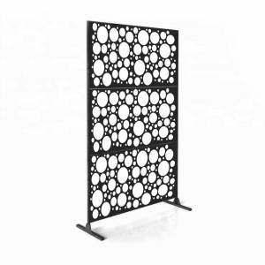 "Overstock Laser Cut Metal Privacy Stand Combo Fence, 75"" x48 "" - CirclePoints (CirclePoints - Black)"