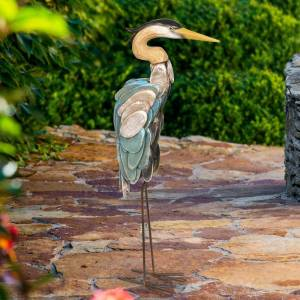 "Exhart Wood and Metal Heron - 13.0"" x 6.0"" x 28.5"" (Nautical & Coastal - MultiColor - No - All Seasons - Garden Statues - 13.0"" x 6.0"" x 28.5"" - Assembled -"