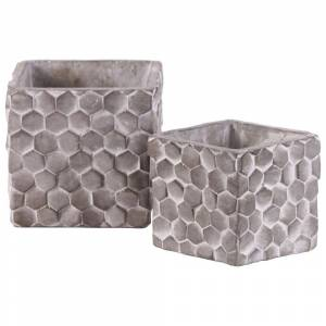 Overstock Square Cement Pot with Embossed Hexagonal Design, Set of 2, Washed Gray