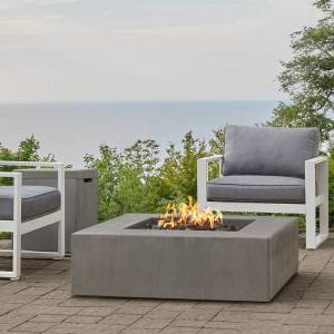 Real Flame Provo Low Square Natural Gas Fire Table in Flint by Jensen Company - 40 x 40 x 11.75 (40 x 40 x 11.75 - Fire Pit Accessories - Concrete Composite