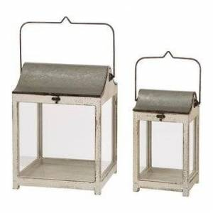 Glitzhome, Glitzhome Farmhouse Wooden Metal Lantern Set of Two (Silver)