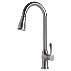 ALFI brand ALFI AB2043-BSS Traditional Brushed Pull Down Kitchen Faucet (Silver)