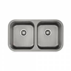 Apogee KBF & MORE Satin 18-gauge Stainless Steel Double-bowl Sink (31.25X18, 18 Gauge)