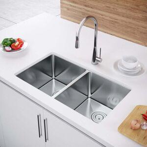 Exclusive Heritage 32 x 19 Double Bowl 50/50 Undermount Stainless Steel Kitchen Sink (Sink + Strainer)