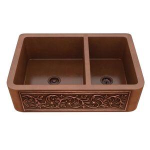 "ANZZI Lamb Farmhouse 33"" 60/40 Kitchen Sink-Polished Copper - polished antique copper (polished antique copper)"