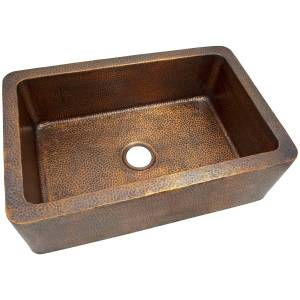 The Copper Factory Hammered Copper Single Bowl Farmhouse Sink, The Copper Factory CF165AN