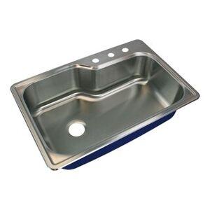 Transolid Meridian 33-in 16 Gauge Offset Super Drop-in Single Bowl Kitchen Sink (3)