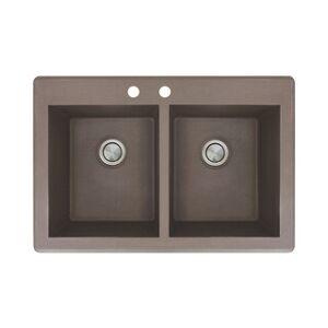 Transolid Radius 33-in silQ Granite Drop-in Double Bowl Kitchen Sink (2 - Espresso)