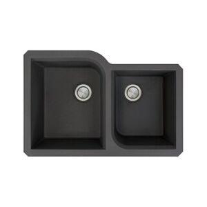 """Transolid Radius Granite 31-in Undermount Kitchen Sink (20.75"""" X 31.75"""" X 9.5"""" - Black)"""