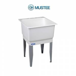 Overstock Laundry Tub 25x23 Floor Mount - White (White)