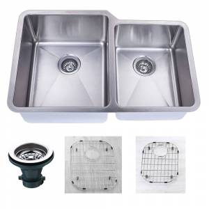 """Empire Atlas Undermount 18 Gauge Stainless Steel 32"""" 55/45 Double Bowl Kitchen Sink with Grid and strainer"""