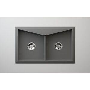 "Lavello Granite Composite 30.5"" Drop in Double Bowl Kitchen Sink Sorel 2 Holes (Grey Metallic)"