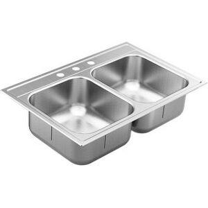 """Moen GS182133Q 1800 Series 33"""" Drop In Double Basin Stainless Steel - Stainless Steel (Stainless Steel)"""
