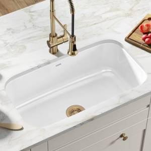 "KRAUS Pintura Enameled Stainless Steel 31 1/2"" Undermount Kitchen Sink (White)"