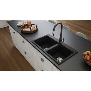 "Lavello Granite Composite 32"" Drop in Double Bowl Kitchen Sink Kenix 2 Holes (Black Metallic)"
