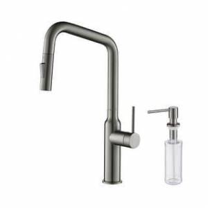Overstock High Arc Pull Out  Single Level Lead Free Brass Kitchen Faucet with Sprayer and Magnetic Docking (Titanium W/ Soap Dispenser)