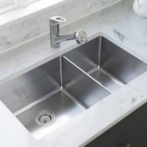 MR Direct 3160L Offset Double Bowl Stainless Steel Kitchen Sink, and SinkLink (Stainless Steel/White - 14 Gauge)