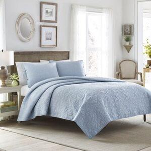 Laura Ashley Felicity Baby Blue Cotton 3-piece Quilt Set (Twin)