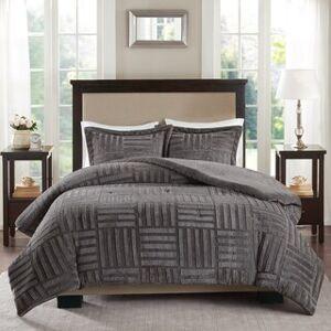 Madison Park Polar Fur Down Alternative Comforter Mini Set (Grey - Full - Queen)