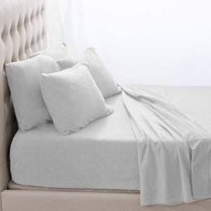 Bare Home Fleece Fitted Bottom Sheet Hypoallergenic Deep Pocket Ultra Soft (White - Queen)