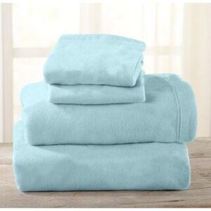 Home Fashion Designs Maya Collection Super Soft Fleece Solid Bed Sheet Set (King - Cloud Blue)