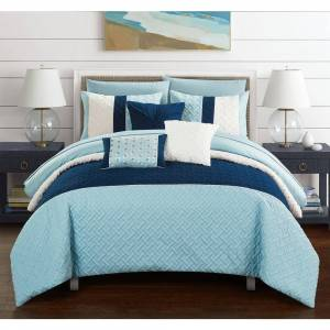 Chic Home Arza 10 Piece Color Block Quilted Comforter Set (Queen)