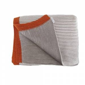 Pink Lemonade Bira Stripped Cotton Throw Blanket (Bira - Cream/Stone/Rust)