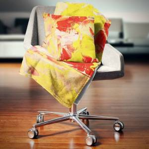 DESIGN ART Designart 'Yellow and Red Abstract Art' Abstract Throw Blanket (71 in. x 59 in.)