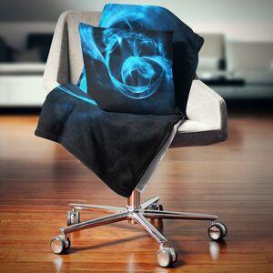 DESIGN ART Designart 'Fractal 3D Circled Blue Waves' Contemporary Throw Blanket (71 in. x 59 in.)