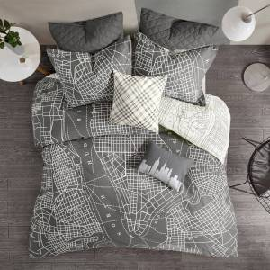 Urban Habitat Hudson Charcoal Reversible 7-Piece Printed Cotton Duvet Cover Set (King - Cal King)