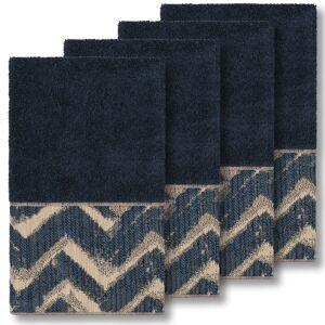 Authentic Hotel and Spa Turkish Cotton Chevron Jacquard Trim Midnight Blue 4-piece Hand Towel Set