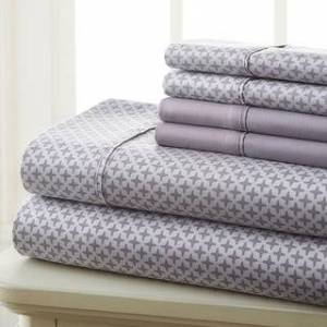 Overstock Spirit Linen Home Prestige Home Collection Sheet Set (4-6 Pieces) (Grey Diamond - Twin - 4 Piece)