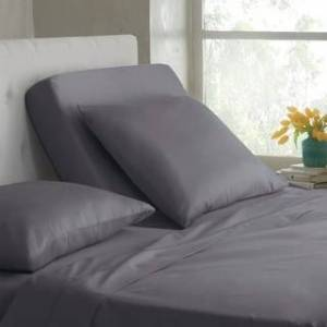 Porch & Den Metz 300 Thread Count Organic Cotton Split King Bed Sheet Set (Grey - 15 Inches)