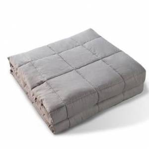 Kasentex 100-percent Cotton Weighted Blanket with Glass Beads (Twin / Heavy-Weight 15 LB - Light Grey)