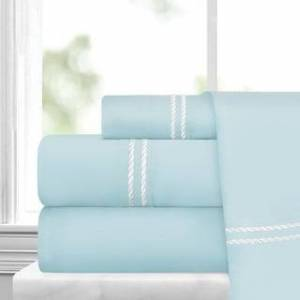 ienjoy Home Italian Collection 4 Piece Sheet Set with Rope Embroidery (Full - Aqua/White)