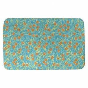 ArtVerse Swirly Floral Pattern Bath Mat (21 x 34 - Yellow Blue & Orange)