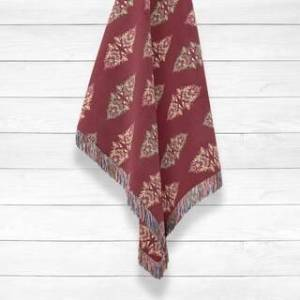 Amrita Sen Designs Paisley Luxury Cotton Woven Throw by Amrita Sen (Red - 60x50)
