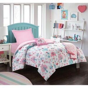 Paga Universal Linens Maison condelle- 5 Pcs Elephant Comforter Set (Pink/White - Twin)