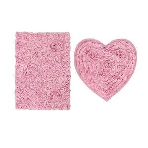 Overstock Bell Flower Bath Rug 2 Pc Heart Set 21x34  25x25 - 25X25 & 21X34 (Pink)