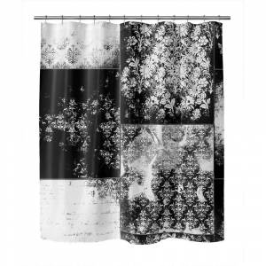 Kavka Designs ECLECTIC BOHEMIAN PATCHWORK BLACK & WHITE Shower Curtain by Kavka Designs (71X74)